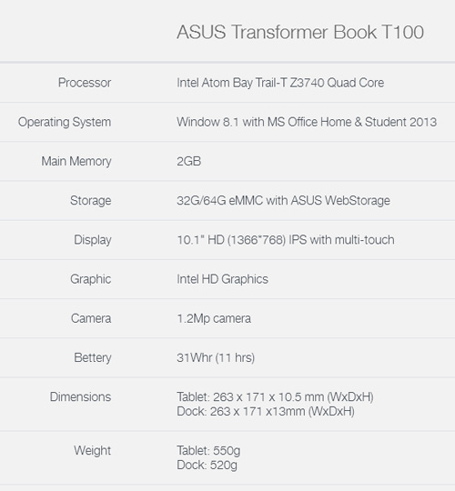 ASUS Transformer Book T100 2-In-1 Notebook / Tablet Review