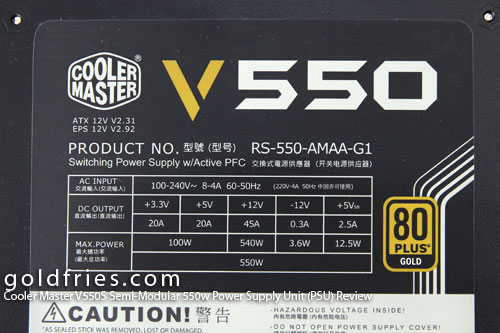 Cooler Master V550S Semi-Modular 550w Power Supply Unit (PSU) Review