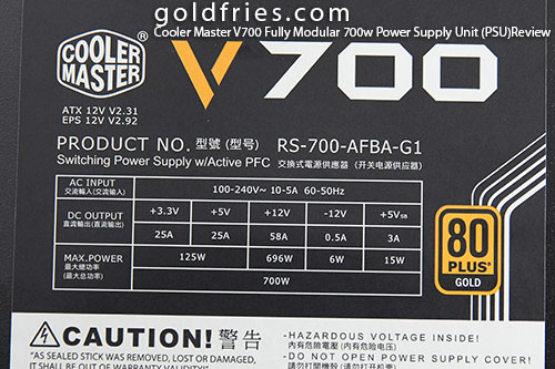 Cooler Master V700 Fully Modular 700w Power Supply Unit (PSU) Review