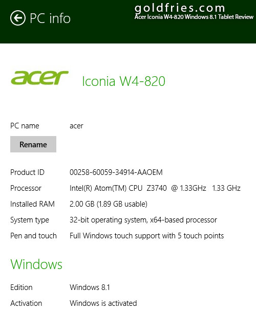 Acer Iconia W4-820 Windows 8.1 Tablet Review