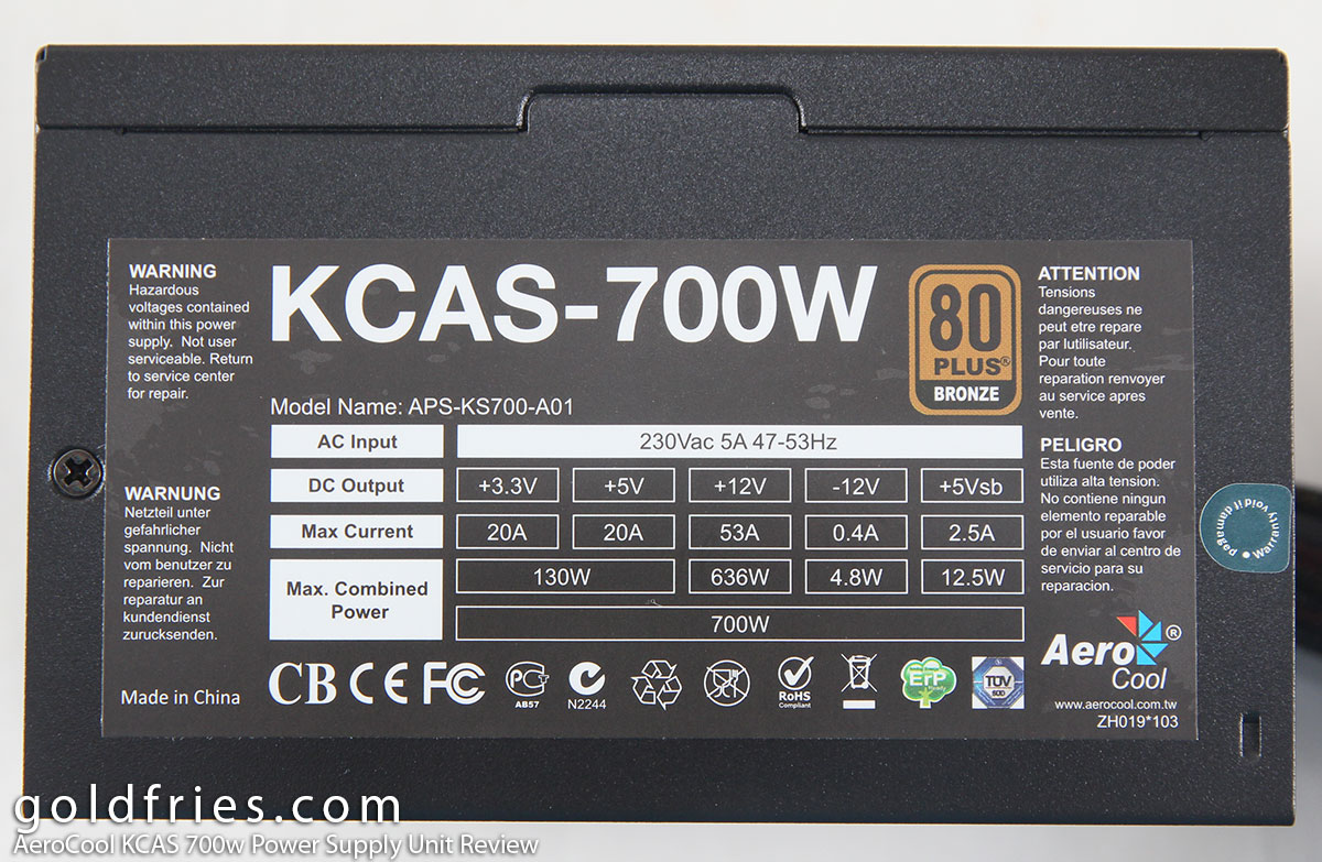AeroCool KCAS 700w Power Supply Unit Review