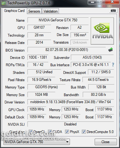 ASUS GeForce GTX 750 1GB GDDR5 Review