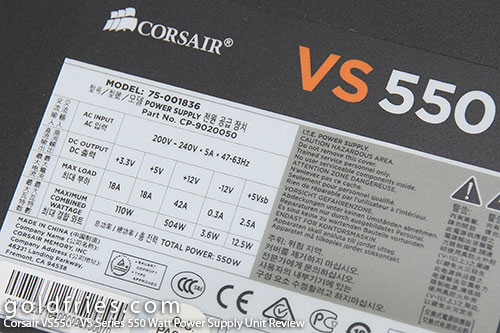Corsair VS550 - VS Series 550 Watt Power Supply Unit Review 4