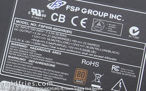FSP 450w Micro ATX (FSP450-60GHS(85)-R) Power Supply Unit Review 24