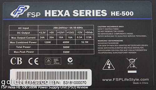 FSP Hexa HE-500 500w Power Supply Unit (PSU) Review 12
