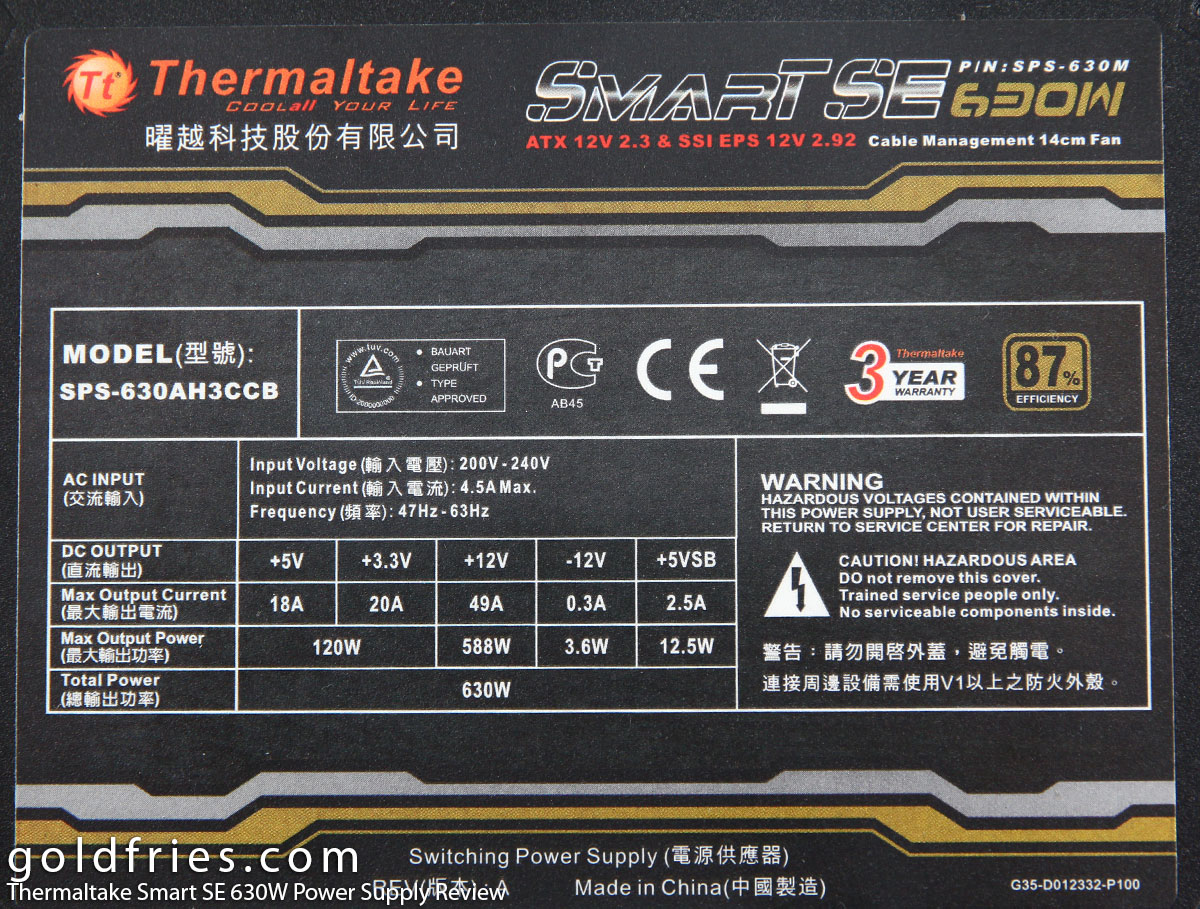 Thermaltake Smart SE 630W Power Supply Review