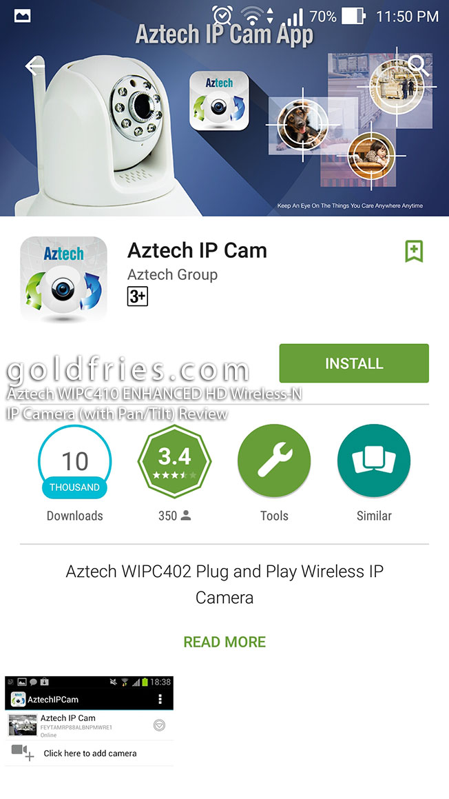 Aztech WIPC410 ENHANCED HD Wireless-N IP Camera (with Pan/Tilt) Review