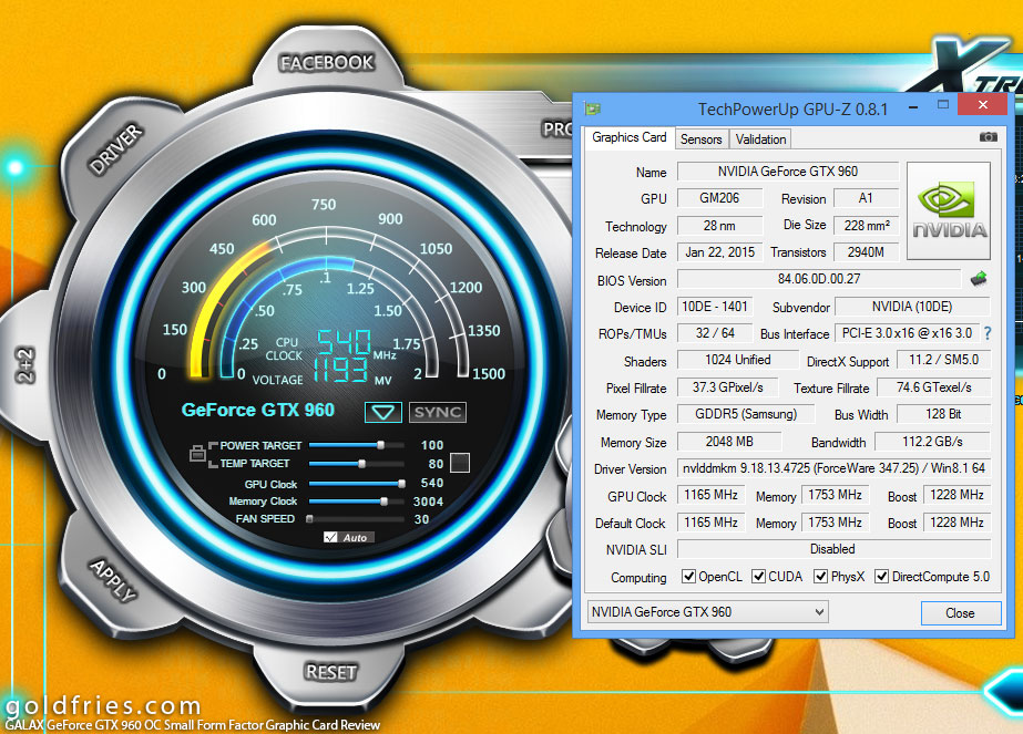 GALAX GeForce GTX 960 OC Small Form Factor Graphic Card Review