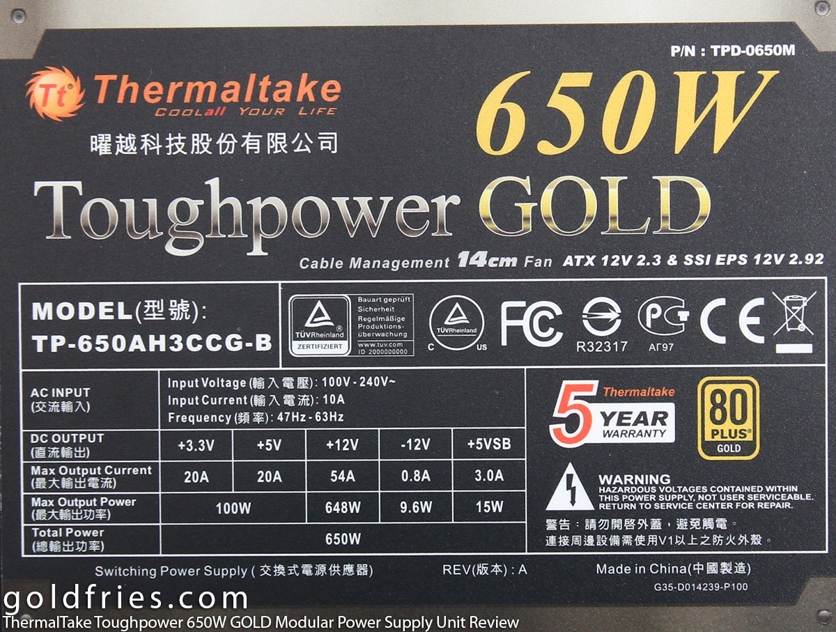 ThermalTake Toughpower 650W GOLD Modular Power Supply Unit Review
