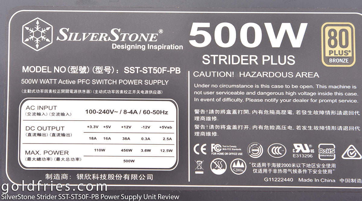 SilverStone Strider SST-ST50F-PB 500W Power Supply Unit Review