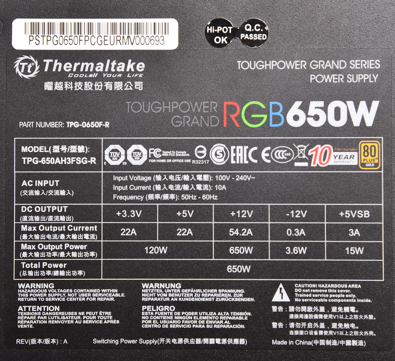 ThermalTake Toughpower Grand RGB 650W Review