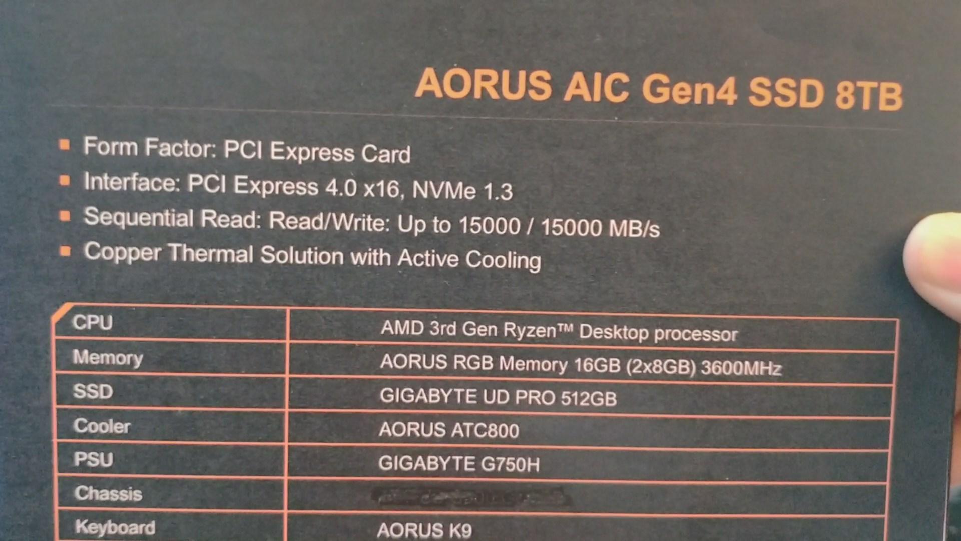 AORUS AIC Gen4 SSD 8TB at Computex 2019 2