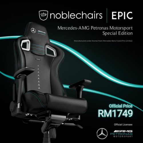 The noblechairs EPIC Mercedes-AMG Petronas Motorsport Edition at RM 1,749 4